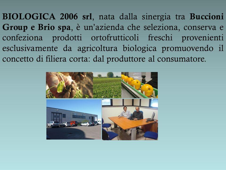 BIOLOGICA 2006 srl, nata dalla sinergia tra Buccioni Group e Brio spa, è unazienda che seleziona, conserva e confeziona prodotti ortofrutticoli fresch