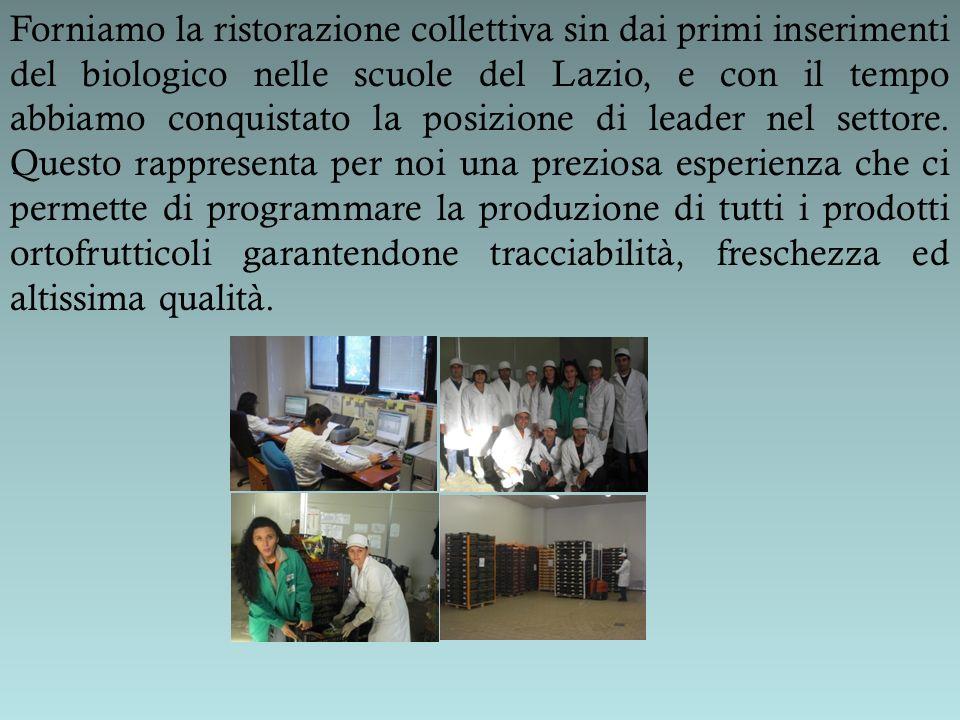 Forniamo la ristorazione collettiva sin dai primi inserimenti del biologico nelle scuole del Lazio, e con il tempo abbiamo conquistato la posizione di