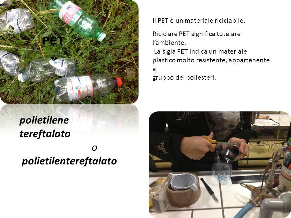 PET PET polietilene tereftalato o polietilentereftalato Il PET è un materiale riciclabile. Riciclare PET significa tutelare lambiente. La sigla PET in