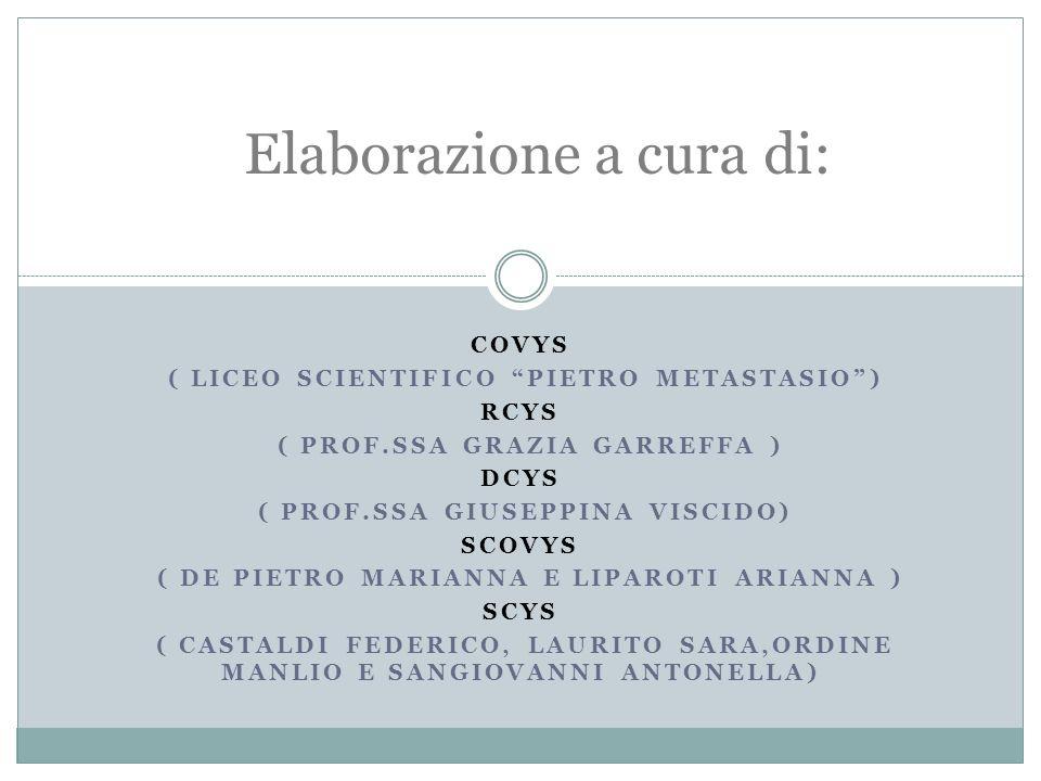 COVYS ( LICEO SCIENTIFICO PIETRO METASTASIO) RCYS ( PROF.SSA GRAZIA GARREFFA ) DCYS ( PROF.SSA GIUSEPPINA VISCIDO) SCOVYS ( DE PIETRO MARIANNA E LIPAROTI ARIANNA ) SCYS ( CASTALDI FEDERICO, LAURITO SARA,ORDINE MANLIO E SANGIOVANNI ANTONELLA) Elaborazione a cura di: