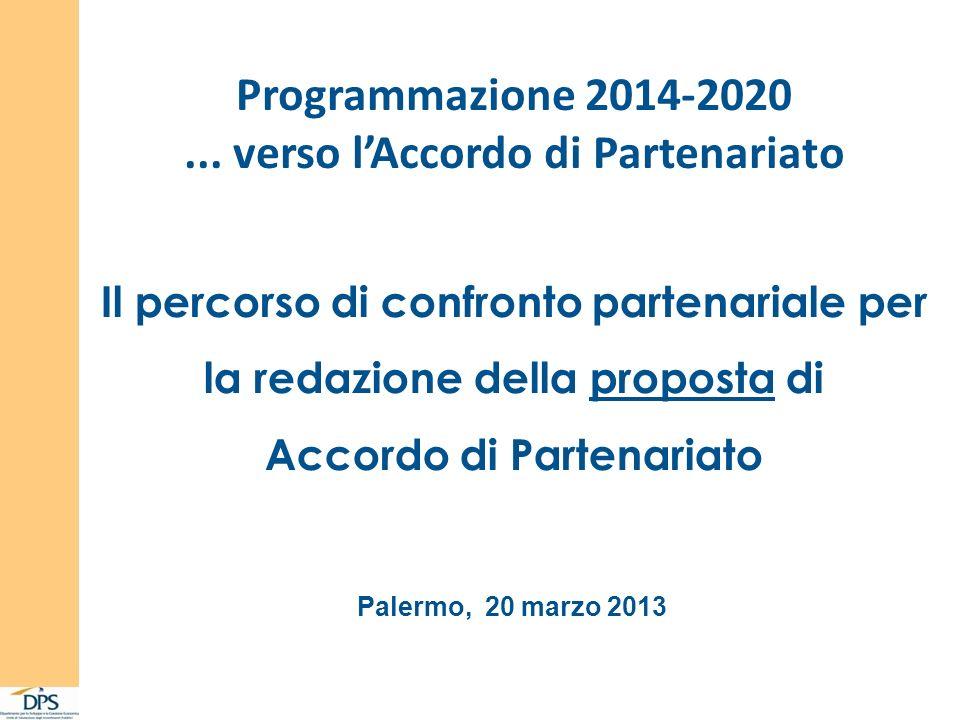 Programmazione 2014-2020... verso lAccordo di Partenariato Palermo, 20 marzo 2013 Il percorso di confronto partenariale per la redazione della propost