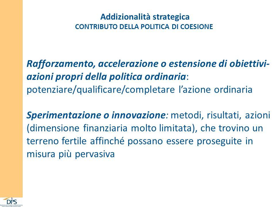 Addizionalità strategica CONTRIBUTO DELLA POLITICA DI COESIONE Rafforzamento, accelerazione o estensione di obiettivi- azioni propri della politica or