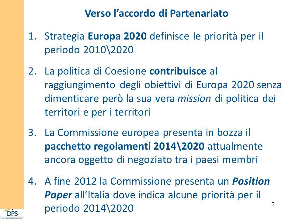 2 1.Strategia Europa 2020 definisce le priorità per il periodo 2010\2020 2.La politica di Coesione contribuisce al raggiungimento degli obiettivi di E