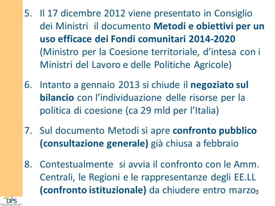 3 5.Il 17 dicembre 2012 viene presentato in Consiglio dei Ministri il documento Metodi e obiettivi per un uso efficace dei Fondi comunitari 2014-2020