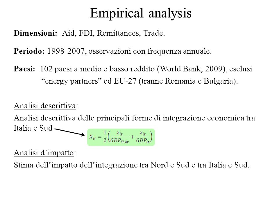 Empirical analysis Dimensioni: Aid, FDI, Remittances, Trade.