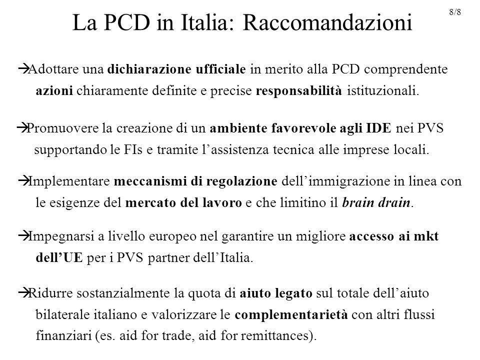 La PCD in Italia: Raccomandazioni Impegnarsi a livello europeo nel garantire un migliore accesso ai mkt dellUE per i PVS partner dellItalia.
