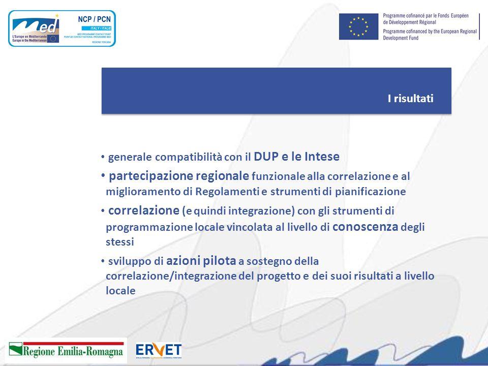 I risultati generale compatibilità con il DUP e le Intese partecipazione regionale funzionale alla correlazione e al miglioramento di Regolamenti e st