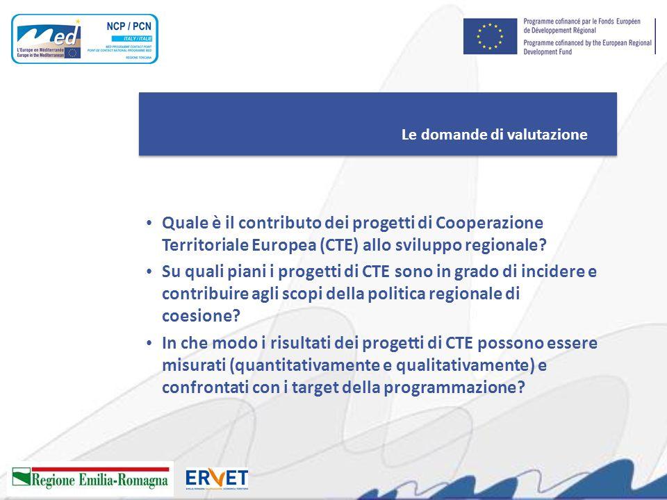 Le domande di valutazione Quale è il contributo dei progetti di Cooperazione Territoriale Europea (CTE) allo sviluppo regionale? Su quali piani i prog