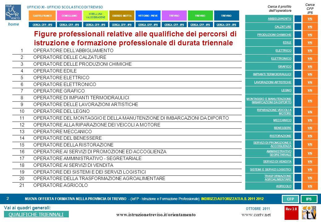 2 Vai ai quadri generali: QUALIFICHE TRIENNALI NUOVA OFFERTA FORMATIVA NELLA PROVINCIA DI TREVISO - (IeFP - Istruzione e Formazione Professionale) INDIRIZZI AUTORIZZATI A.S.