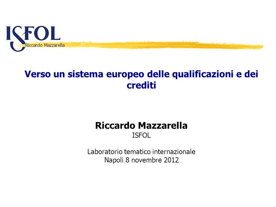 Riccardo Mazzarella Verso un sistema europeo delle qualificazioni e dei crediti Riccardo Mazzarella ISFOL Laboratorio tematico internazionale Napoli 8