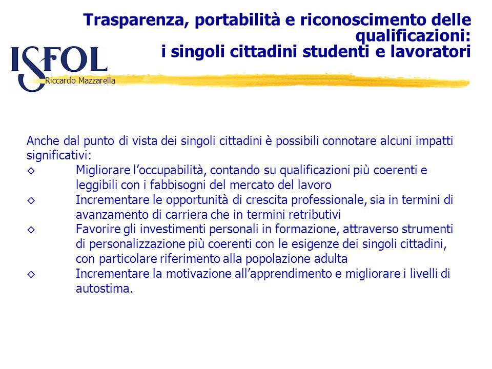 Riccardo Mazzarella Anche dal punto di vista dei singoli cittadini è possibili connotare alcuni impatti significativi: Migliorare loccupabilità, conta