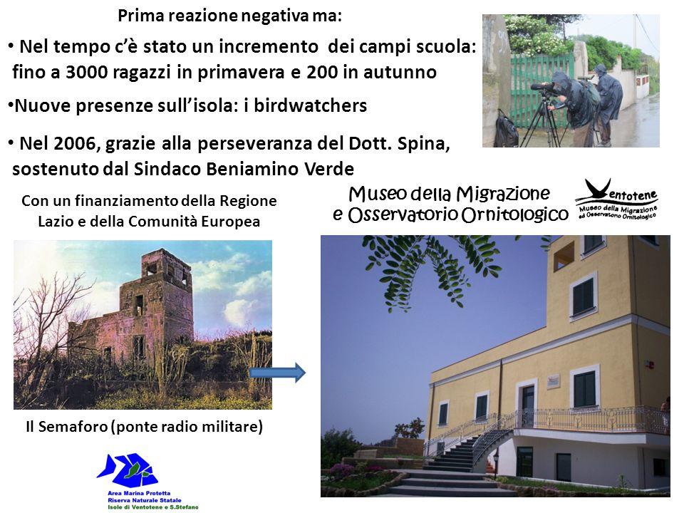 Nel tempo cè stato un incremento dei campi scuola: fino a 3000 ragazzi in primavera e 200 in autunno Museo della Migrazione e Osservatorio Ornitologic