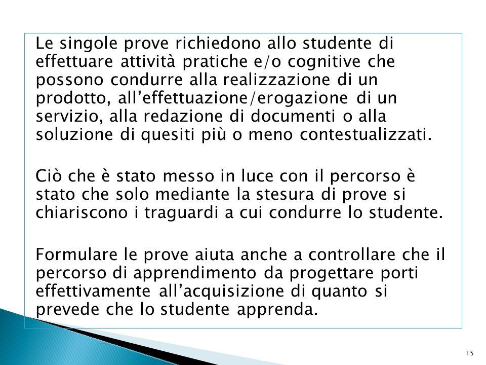 Le singole prove richiedono allo studente di effettuare attività pratiche e/o cognitive che possono condurre alla realizzazione di un prodotto, alleff