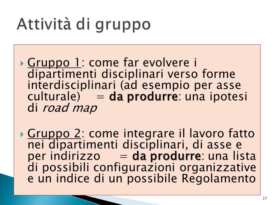 da produrre Gruppo 1: come far evolvere i dipartimenti disciplinari verso forme interdisciplinari (ad esempio per asse culturale) = da produrre: una i