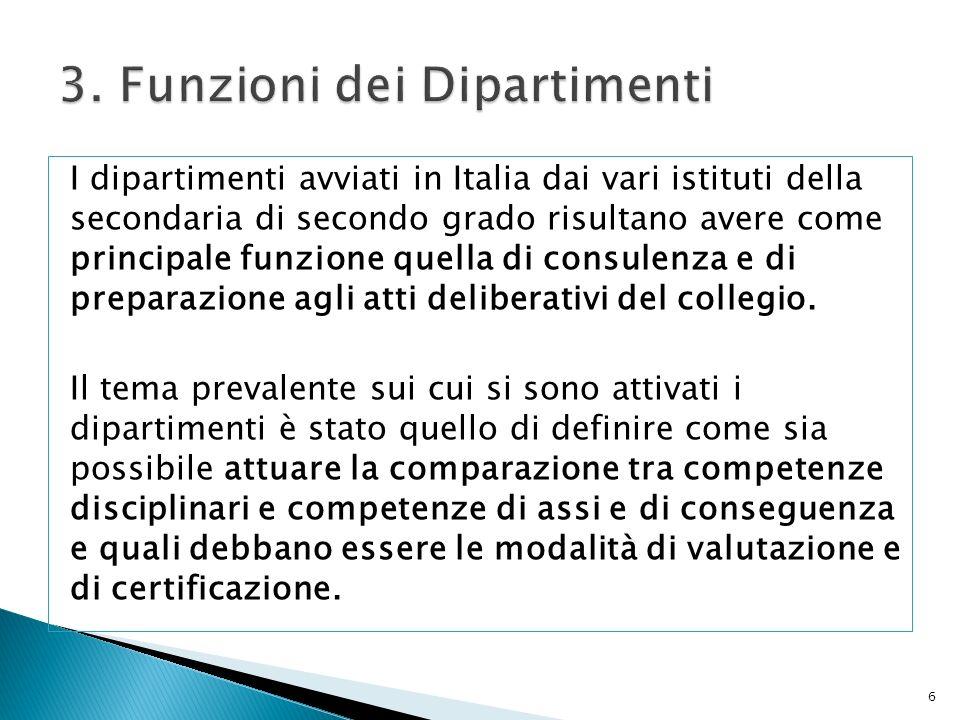 I dipartimenti avviati in Italia dai vari istituti della secondaria di secondo grado risultano avere come principale funzione quella di consulenza e d