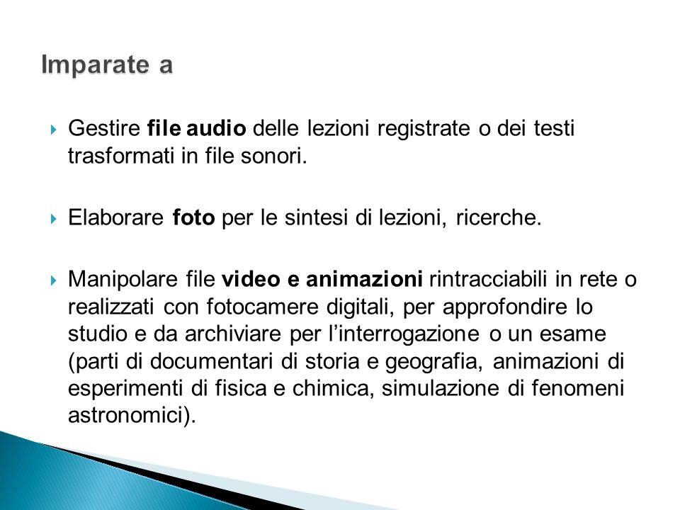 Gestire file audio delle lezioni registrate o dei testi trasformati in file sonori. Elaborare foto per le sintesi di lezioni, ricerche. Manipolare fil