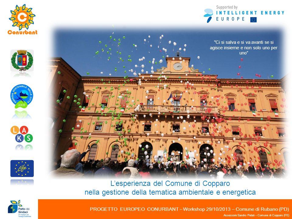 PROGETTO EUROPEO CONURBANT – Workshop 29/10/2013 – Comune di Rubano (PD) Assessore Sandro Pelati – Comune di Copparo (FE)