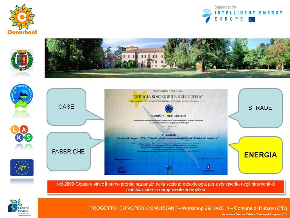 PROGETTO EUROPEO CONURBANT – Workshop 29/10/2013 – Comune di Rubano (PD) Assessore Sandro Pelati – Comune di Copparo (FE) Nel 2009 Copparo vince il pr
