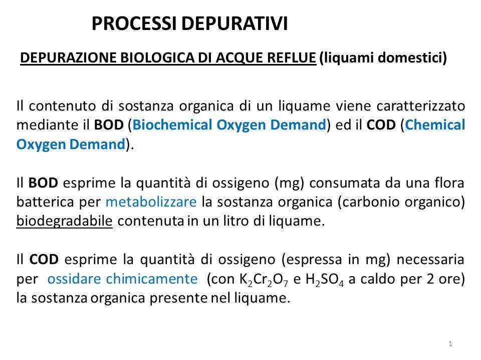 Il contenuto di sostanza organica di un liquame viene caratterizzato mediante il BOD (Biochemical Oxygen Demand) ed il COD (Chemical Oxygen Demand). I