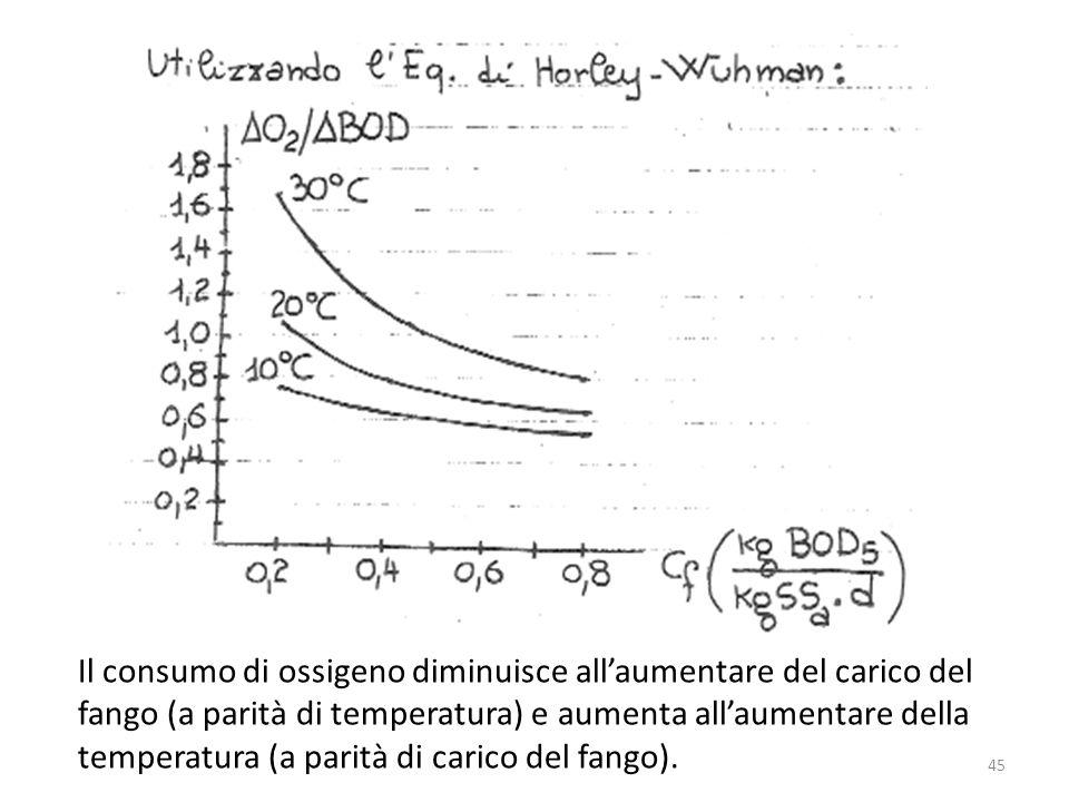 Il consumo di ossigeno diminuisce allaumentare del carico del fango (a parità di temperatura) e aumenta allaumentare della temperatura (a parità di ca