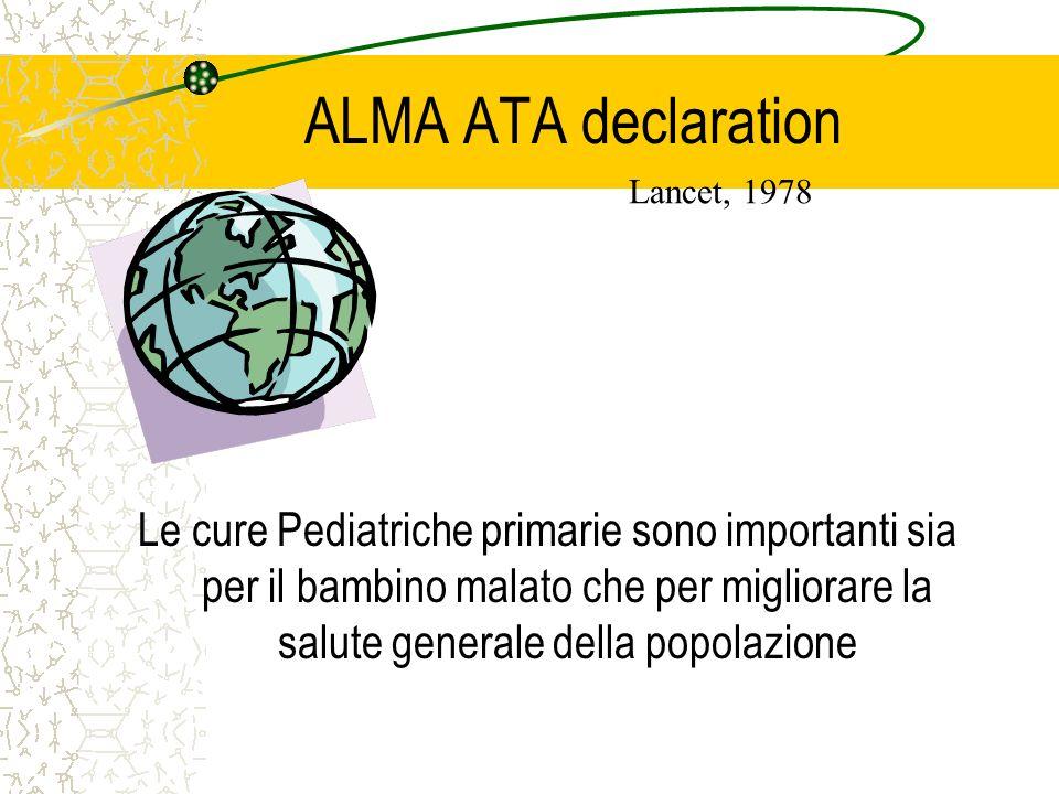 ALMA ATA declaration Le cure Pediatriche primarie sono importanti sia per il bambino malato che per migliorare la salute generale della popolazione Lancet, 1978