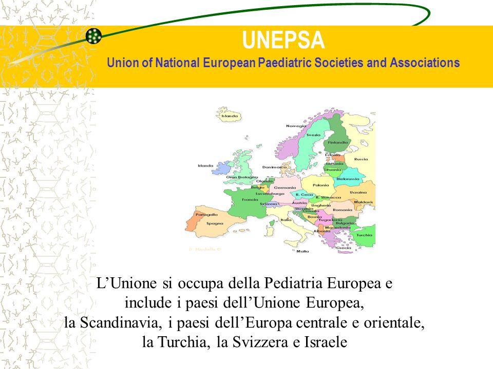 UNEPSA Union of National European Paediatric Societies and Associations LUnione si occupa della Pediatria Europea e include i paesi dellUnione Europea, la Scandinavia, i paesi dellEuropa centrale e orientale, la Turchia, la Svizzera e Israele