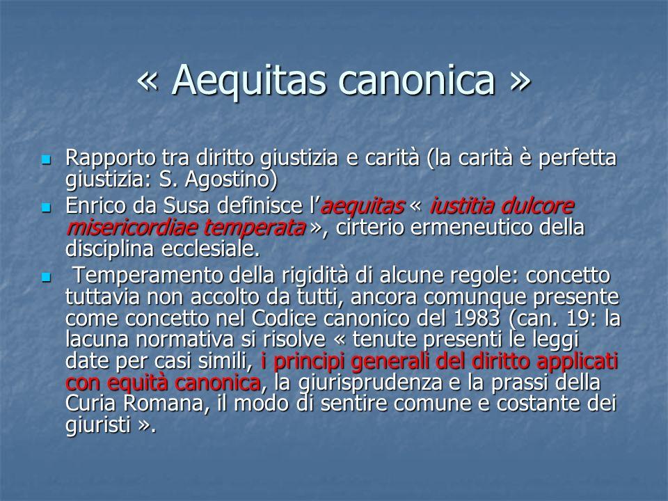 « Aequitas canonica » Rapporto tra diritto giustizia e carità (la carità è perfetta giustizia: S. Agostino) Rapporto tra diritto giustizia e carità (l