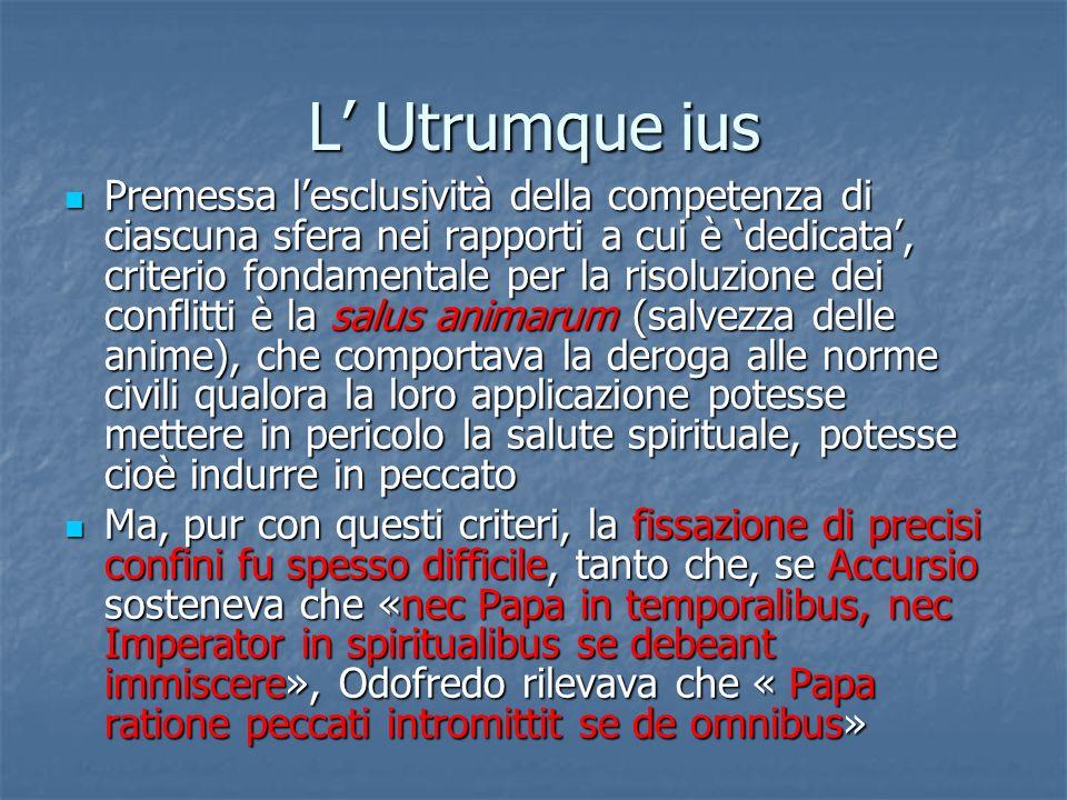 L Utrumque ius Premessa lesclusività della competenza di ciascuna sfera nei rapporti a cui è dedicata, criterio fondamentale per la risoluzione dei co