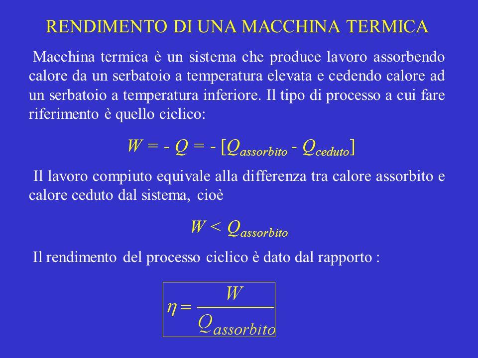 RENDIMENTO DI UNA MACCHINA TERMICA Macchina termica è un sistema che produce lavoro assorbendo calore da un serbatoio a temperatura elevata e cedendo