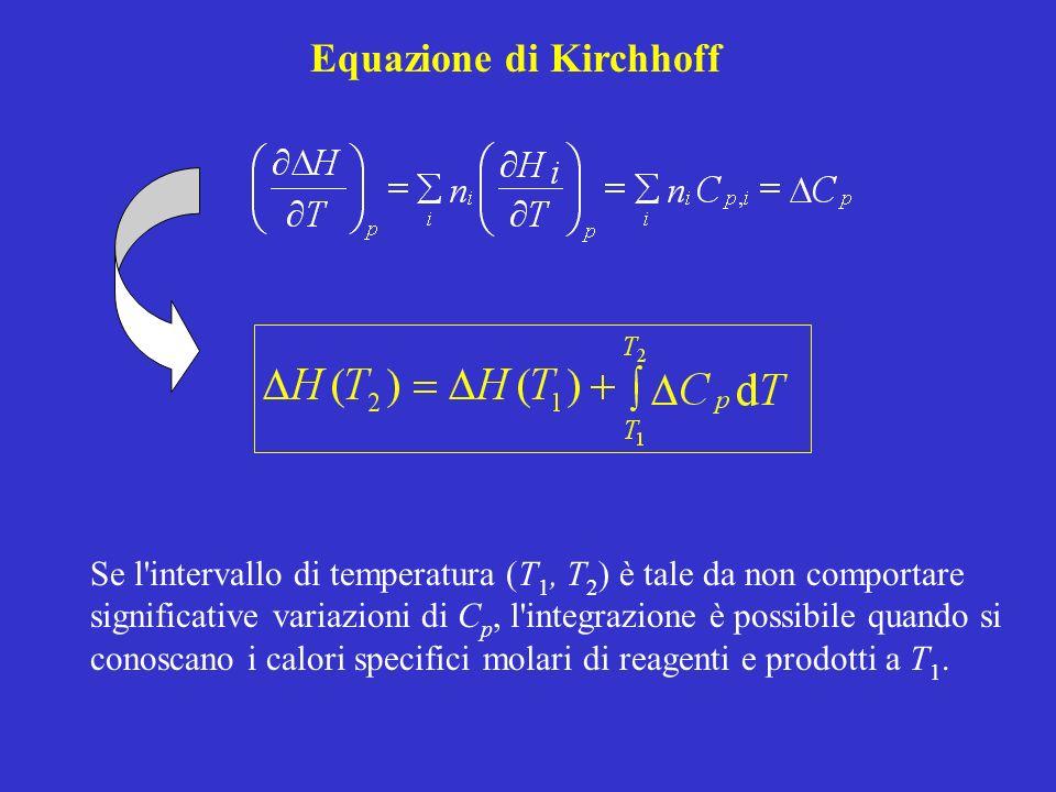 Equazione di Kirchhoff Se l'intervallo di temperatura (T 1, T 2 ) è tale da non comportare significative variazioni di C p, l'integrazione è possibile