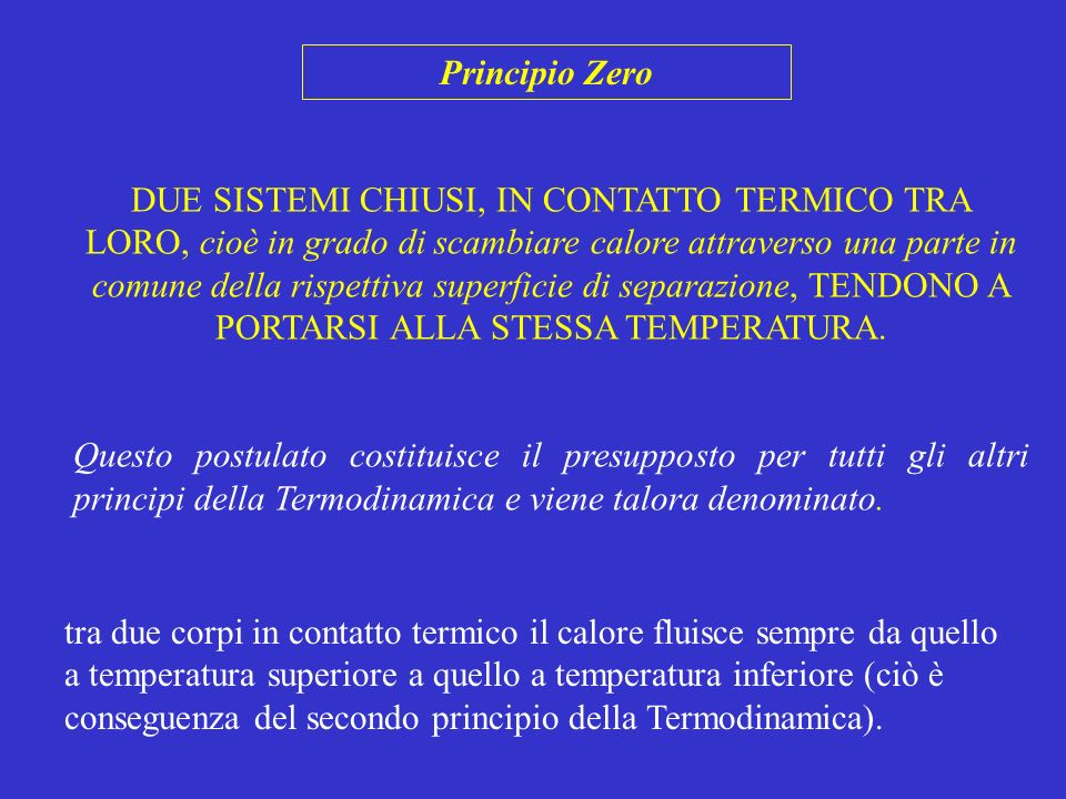Primo Principio della Termodinamica Energia Totale = Energia Cinetica + Energia Potenziale L energia potenziale, U, detta anche ENERGIA INTERNA DEL SISTEMA, è la somma delle energie relative al moto caotico dei costituenti elementari del sistema (nuclei, elettroni, baricentri molecolari, ecc.), che non modificano la posizione del baricentro del sistema, e dei contributi di tutte le interazioni che dipendono dalla posizione reciproca istantanea dei costituenti.