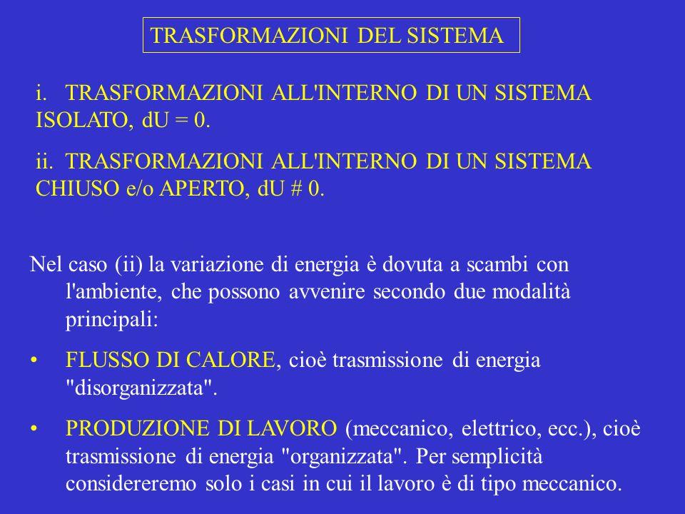 Il lavoro meccanico è quello che accompagna la compressione o l espansione del sistema.