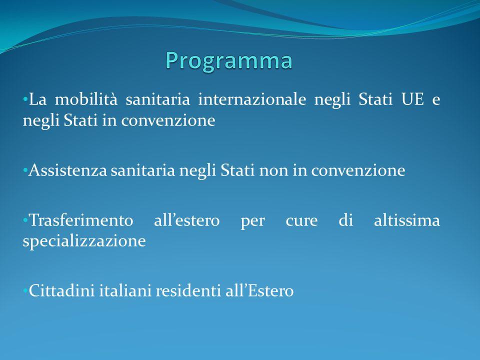 La mobilità sanitaria internazionale negli Stati UE e negli Stati in convenzione Assistenza sanitaria negli Stati non in convenzione Trasferimento all