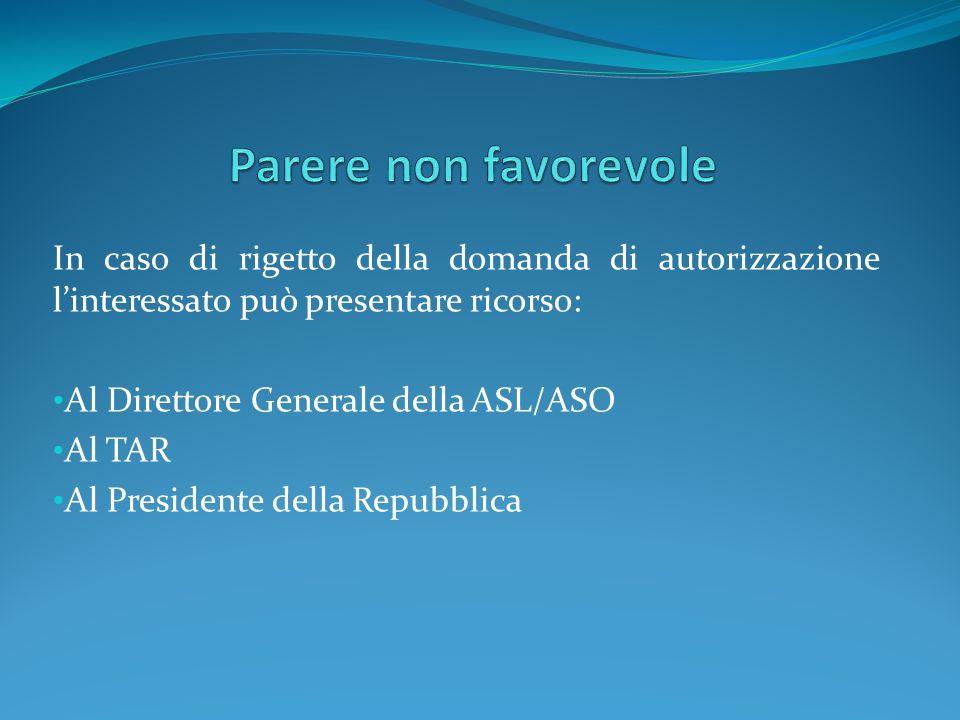 In caso di rigetto della domanda di autorizzazione linteressato può presentare ricorso: Al Direttore Generale della ASL/ASO Al TAR Al Presidente della