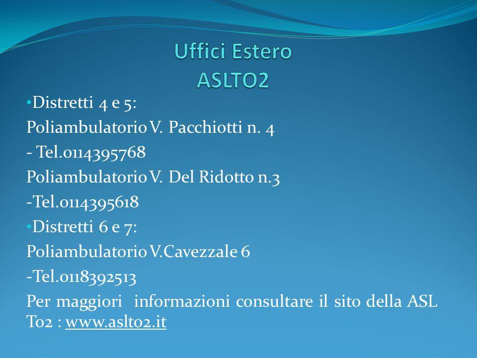 Distretti 4 e 5: Poliambulatorio V. Pacchiotti n. 4 - Tel.0114395768 Poliambulatorio V. Del Ridotto n.3 -Tel.0114395618 Distretti 6 e 7: Poliambulator
