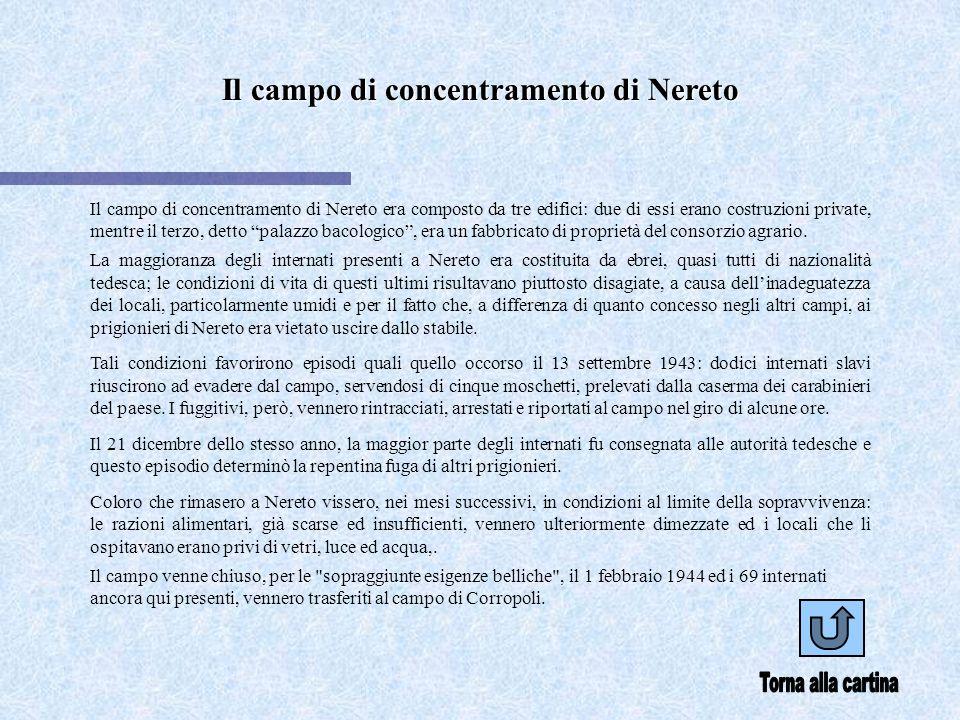 Il campo di concentramento di Nereto Il campo di concentramento di Nereto era composto da tre edifici: due di essi erano costruzioni private, mentre il terzo, detto palazzo bacologico, era un fabbricato di proprietà del consorzio agrario.