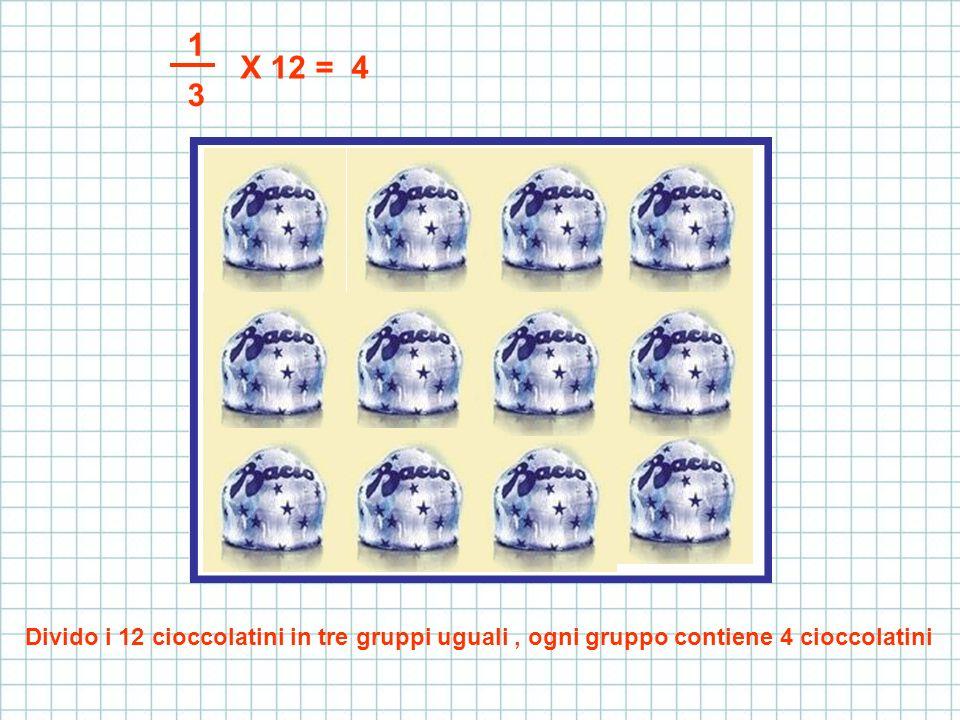 1 3 X 12 = 4 Divido i 12 cioccolatini in tre gruppi uguali, ogni gruppo contiene 4 cioccolatini