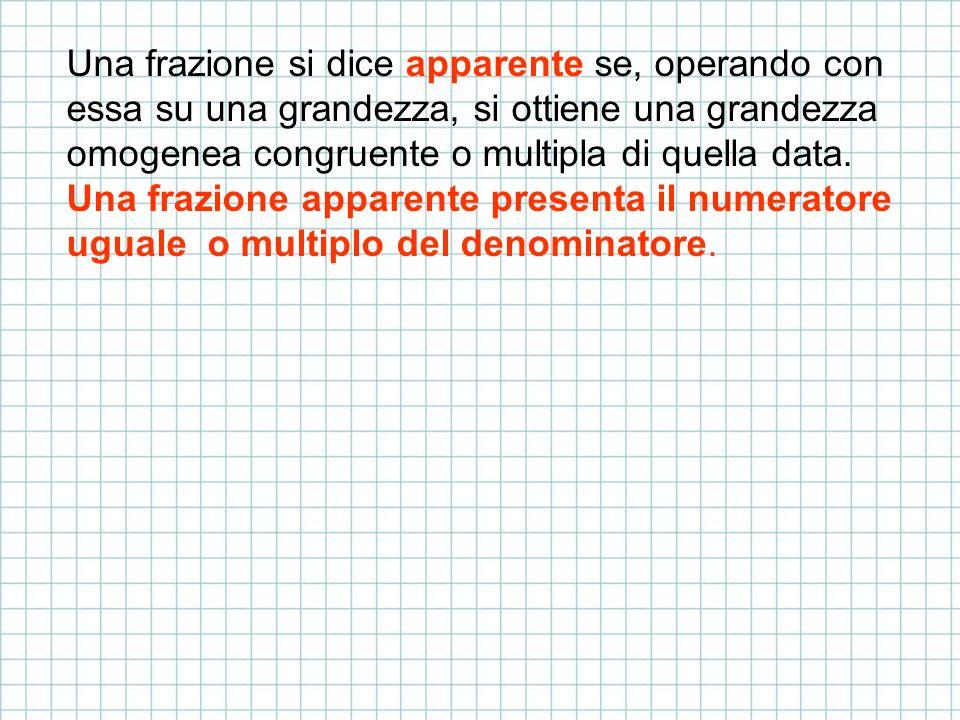 Una frazione si dice apparente se, operando con essa su una grandezza, si ottiene una grandezza omogenea congruente o multipla di quella data. Una fra
