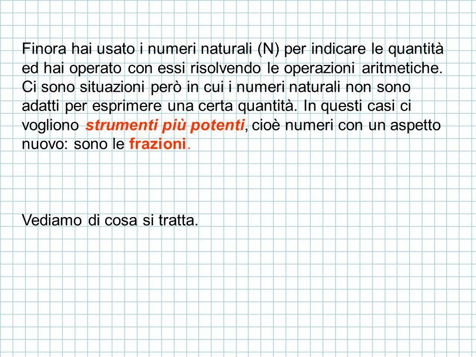 Finora hai usato i numeri naturali (N) per indicare le quantità ed hai operato con essi risolvendo le operazioni aritmetiche. Ci sono situazioni però