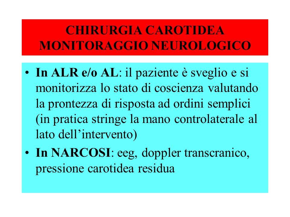 CHIRURGIA CAROTIDEA MONITORAGGIO NEUROLOGICO In ALR e/o AL: il paziente è sveglio e si monitorizza lo stato di coscienza valutando la prontezza di ris