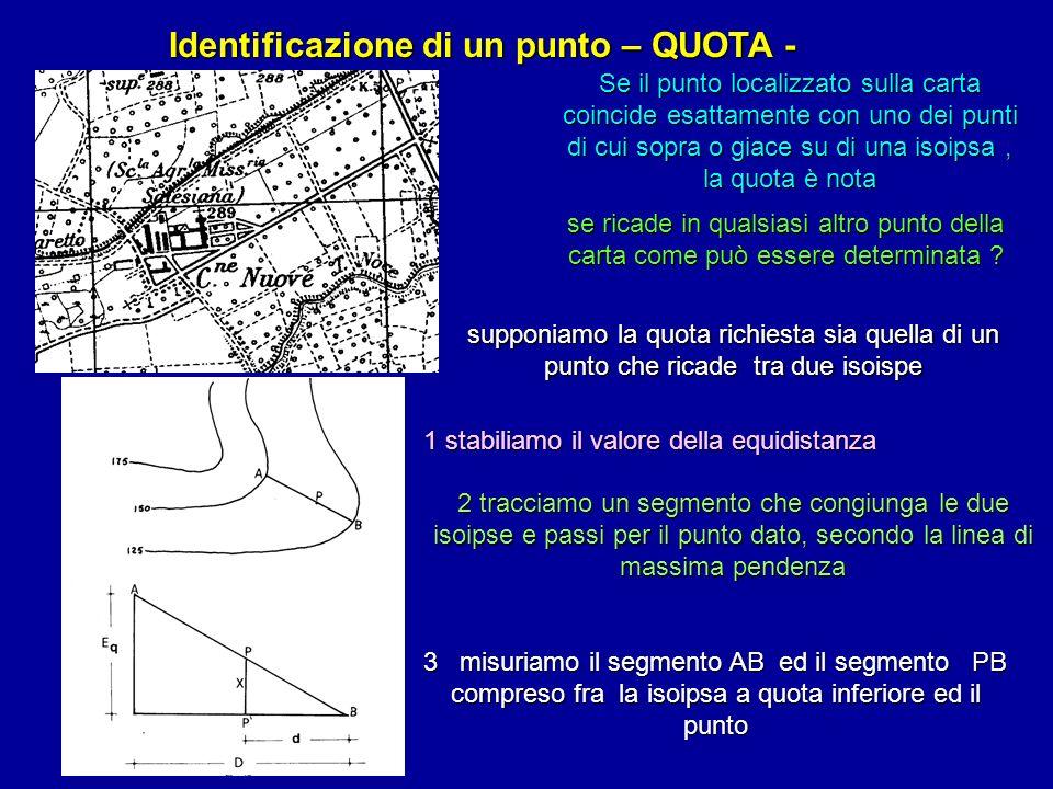 Identificazione di un punto – QUOTA - Se il punto localizzato sulla carta coincide esattamente con uno dei punti di cui sopra o giace su di una isoips