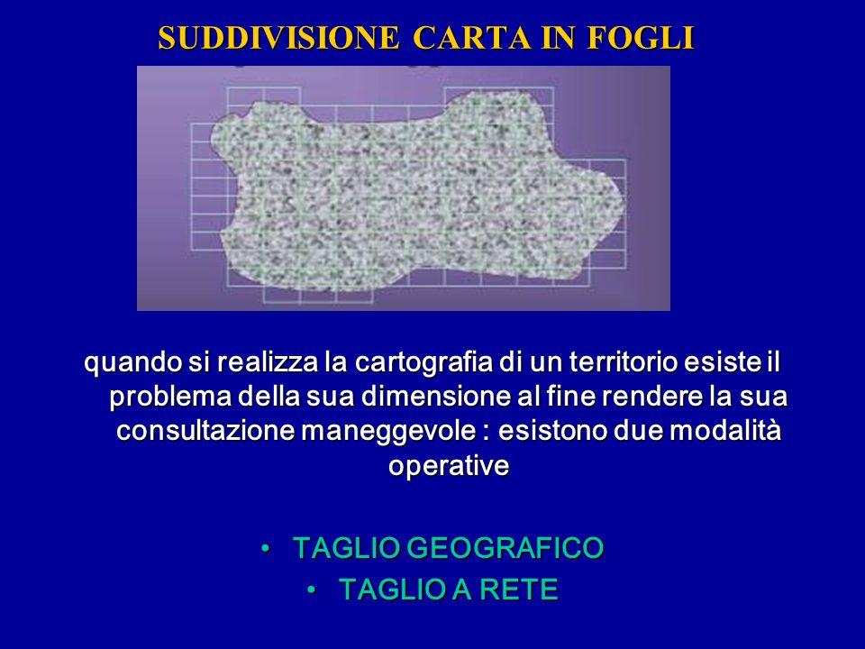 Si definisce TAGLIO GEOGRAFICO di una carta quando i bordi dei fogli sono le proiezioni dei MERIDIANI e dei PARALLELI il foglio che come bordi è tagliato secondo il TAGLIO GEOGRAFICO