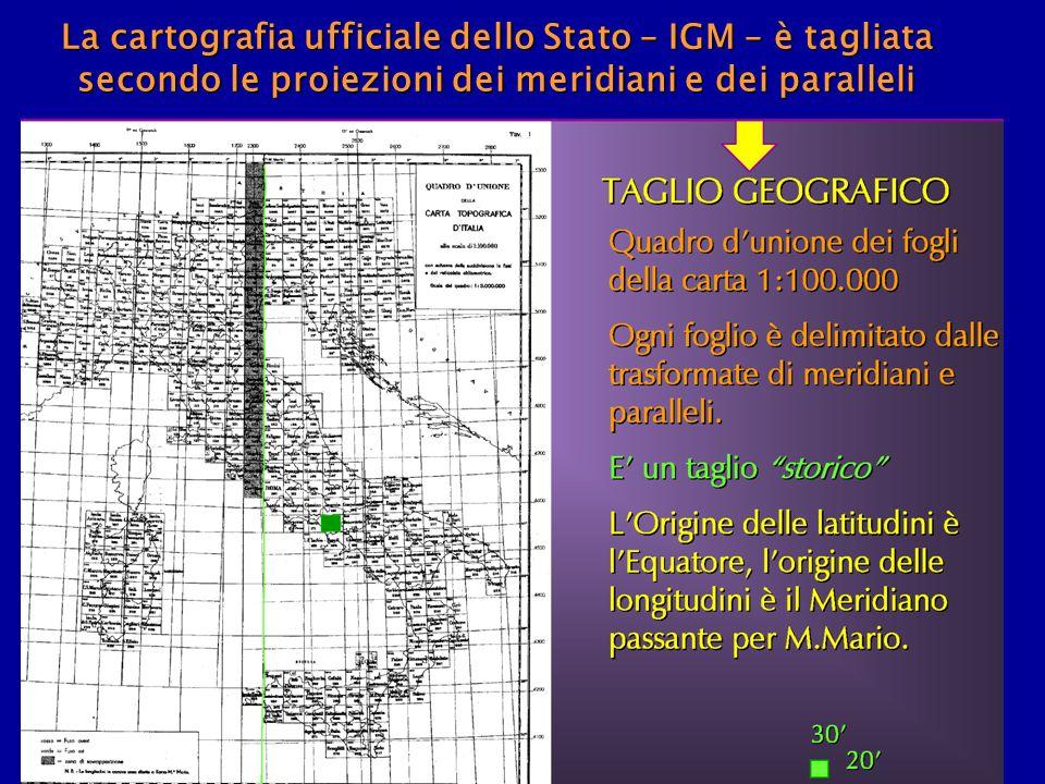 La cartografia ufficiale dello Stato – IGM – è tagliata secondo le proiezioni dei meridiani e dei paralleli