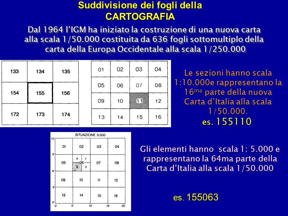 Suddivisione dei fogli della CARTOGRAFIA Dal 1964 lIGM ha iniziato la costruzione di una nuova carta alla scala 1/50.000 costituita da 636 fogli sotto