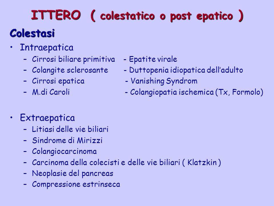 ITTERO ( colestatico o post epatico ) Colestasi Intraepatica –Cirrosi biliare primitiva - Epatite virale –Colangite sclerosante - Duttopenia idiopatic