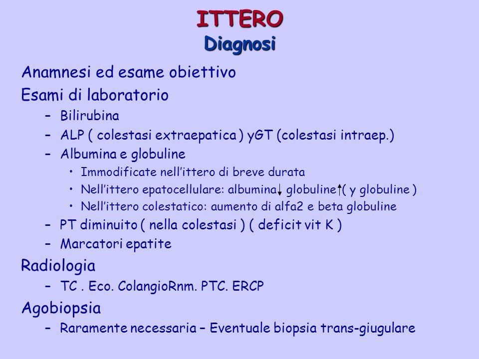 ITTERO Diagnosi Anamnesi ed esame obiettivo Esami di laboratorio –Bilirubina –ALP ( colestasi extraepatica ) yGT (colestasi intraep.) –Albumina e glob