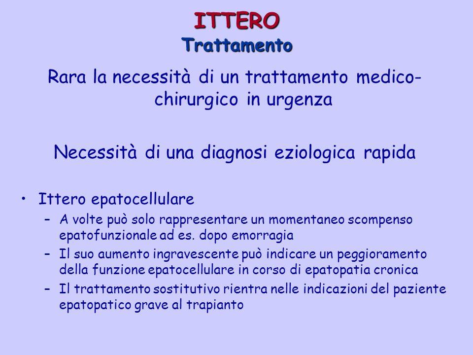 ITTERO Trattamento Rara la necessità di un trattamento medico- chirurgico in urgenza Necessità di una diagnosi eziologica rapida Ittero epatocellulare