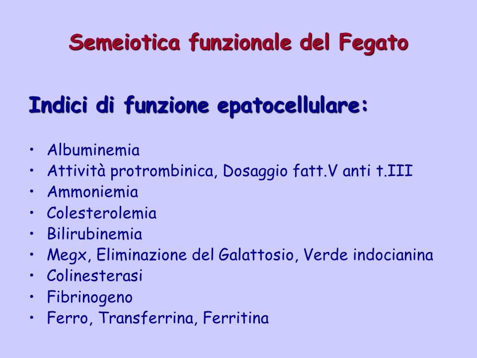 Semeiotica funzionale del Fegato Indici di funzione epatocellulare: Albuminemia Attività protrombinica, Dosaggio fatt.V anti t.III Ammoniemia Colester