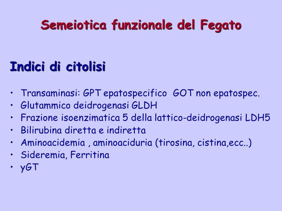 Semeiotica funzionale del Fegato Indici di citolisi Transaminasi: GPT epatospecifico GOT non epatospec. Glutammico deidrogenasi GLDH Frazione isoenzim