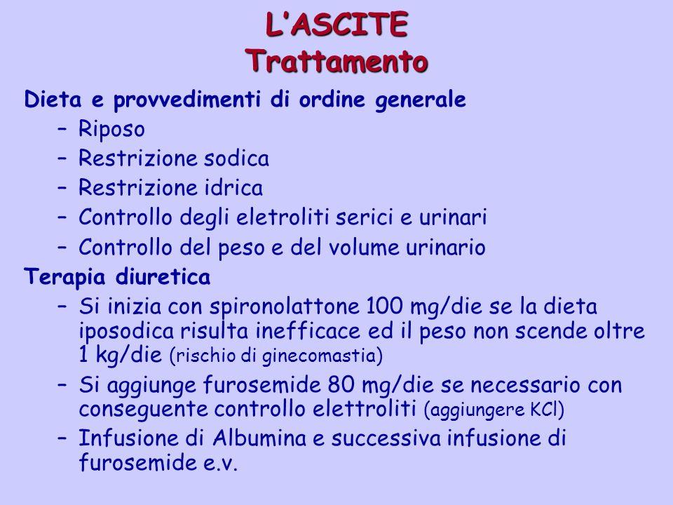 LASCITE Trattamento Dieta e provvedimenti di ordine generale –Riposo –Restrizione sodica –Restrizione idrica –Controllo degli eletroliti serici e urin